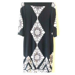 Scarlet black and white sheath dress